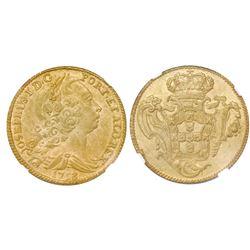 Portugal (Lisbon mint), gold peca (4 escudos / 6400 reis), Jose I, 1753, NGC UNC details / environme