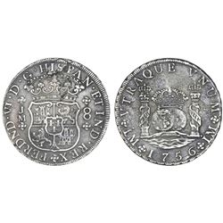 Lima, Peru, pillar 8 reales, Ferdinand VI, 1756JM, dots over both mintmarks.