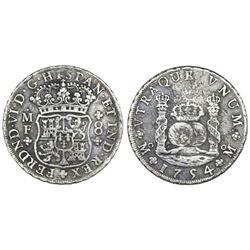 Mexico City, Mexico, pillar 8 reales, Ferdinand VI, 1754MF, crowns alike.