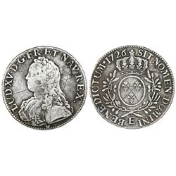 France (Tours mint), ecu, Louis XV, 1726-E.