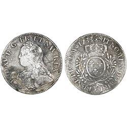France (Bourges mint), ecu, Louis XV, 1733-Y.