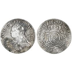 France (Bourges mint), ecu, Louis XV, 1733-Y.