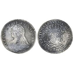 France (Bayonne mint), ecu, Louis XV, 1735-L.