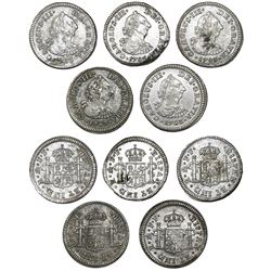 Lot of five Mexico City, Mexico, bust 1/2R, Charles III, 1783FF.
