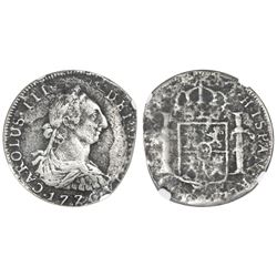 Potosi, Bolivia, bust 4 reales, Charles III, 1776JR, NGC El Cazador / genuine.