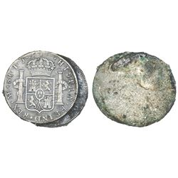 Encrusted clump of two Lima, Peru, bust 8 reales, Charles IV, assayer IJ (probably both dated 1800).