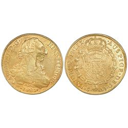 Santiago, Chile, gold bust 8 escudos, Charles IV (bust of Charles III), 1801AJ.