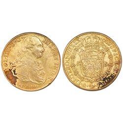 Mexico City, Mexico, gold bust 8 escudos, Charles IV, 1799FM.
