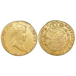 Lima, Peru, gold bust 8 escudos, Ferdinand VII, 1814JP.
