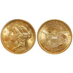 "USA (San Francisco mint), gold $20 coronet Liberty ""double eagle,"" 1857-S, bold 7, faint S, PCGS MS6"