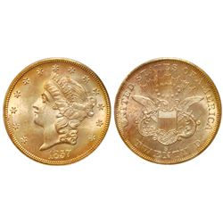 "USA (San Francisco mint), gold $20 coronet Liberty ""double eagle,"" 1857-S, 20C narrow serif, PCGS MS"