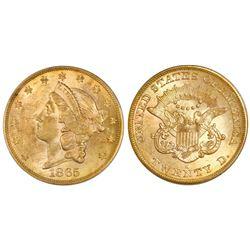 "USA (San Francisco mint), gold $20 coronet Liberty ""double eagle,"" 1865-S, PCGS AU58 / Brother Jonat"