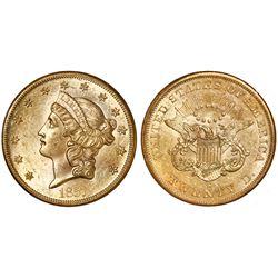 "USA (San Francisco mint), gold $20 coronet Liberty ""double eagle,"" 1857-S, NGC AU 58 / SS Republic,"