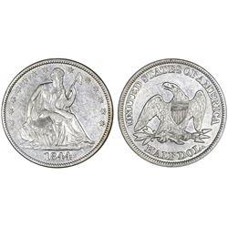 USA (Philadelphia mint), half dollar Seated Liberty, 1844, NGC SS Republic / shipwreck effect.