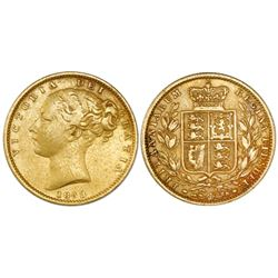 Great Britain (London, England), gold sovereign, Victoria (young bust), 1853, with WW in relief.