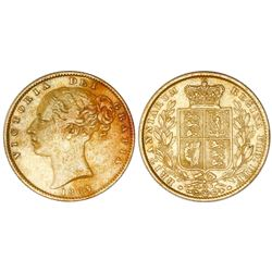 Great Britain (London, England), gold sovereign, Victoria (young bust), 1863, die 24.