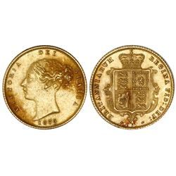 Sydney, Australia (under Great Britain), gold half sovereign, Victoria (young bust), 1875-S, arms re