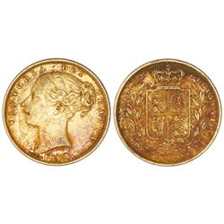 Great Britain (London, England), gold sovereign, Victoria (young head), 1864, die 23.