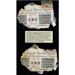 Lot of two Calcutta, British India, 10 rupees, 25-1-1916, series AC 48, serials 80397 and 80377, lam