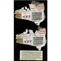 Lot of two Calcutta, British India, 10 rupees, 25-1-1916, series AC 48, serials 80368 and 80369, lam