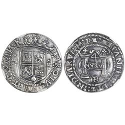 """Mexico City, Mexico, 4 reales, Charles-Joanna, """"Early Series,"""" assayer R (Latin over Gothic), oval p"""