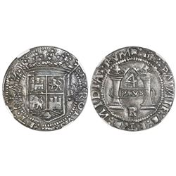 """Mexico City, Mexico, 4 reales, Charles-Joanna, """"Early Series,"""" assayer R (Latin), oval panel, NGC AU"""
