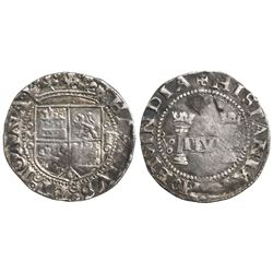 """Mexico City, Mexico, 1 real, Charles-Joanna, """"Early Series,"""" assayer P to right, mintmark M to left"""