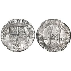 """Mexico City, Mexico, 2 reales, Charles-Joanna, """"Late Series,"""" assayer L to right, mintmark M to left"""