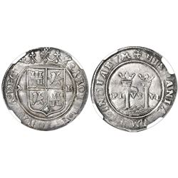 """Mexico City, Mexico, 1 real, Charles-Joanna, """"Late Series,"""" assayer R to right, mintmark M to left ("""