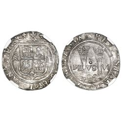 """Mexico City, Mexico, 1 real, Charles-Joanna, """"Late Series,"""" assayer L to right, mintmark oM to left"""