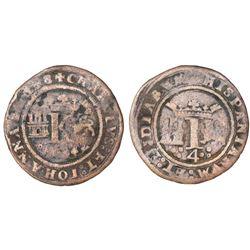 "Mexico City, Mexico, copper 4 maravedis, Charles-Joanna, ""Late Series,"" king's name as CHAROLVS and"
