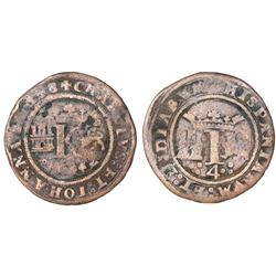 "Mexico City, Mexico, copper 4 maravedis, Charles-Joanna, ""Late Series,"" king's name as CHAROLVS and"