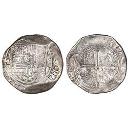 Mexico City, Mexico, cob 8 reales, Philip II, assayer O below mintmark oM to left.