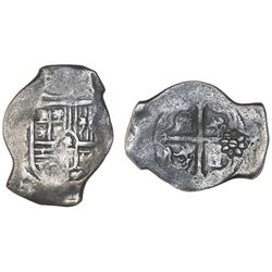 Mexico City, Mexico, cob 8 reales, Philip IV, assayer P, with large, eight-petal flower countermark