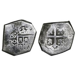Mexico City, Mexico, cob 4 reales, (1)730, assayer not visible.
