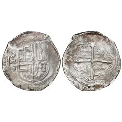 Mexico City, Mexico, cob 2 reales, Philip III, assayer F (pre-dated style), NGC AU 53.