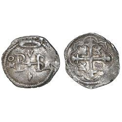 Mexico City, Mexico, cob 1/2 real, Philip III, assayer A/F (1608-9), rare, ex-Christensen.