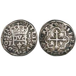 Mexico City, Mexico, cob 1/2 real Royal (galano), 1719/7J, rare (unlisted overdate).