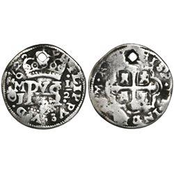 Mexico City, Mexico, cob 1/2 real Royal (galano), 1722J, rare.