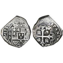 Mexico City, Mexico, klippe 8 reales, 1733F, cob planchet.