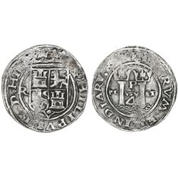 Lima, Peru, 4 reales, Philip II, assayer R (Rincon) to left (small), motto PL-VSV-LT, legends HIS /