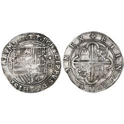 Lima, Peru, cob 8 reales, Philip II, assayer Diego de la Torre, P-8 (round top) to left, *-oD to rig