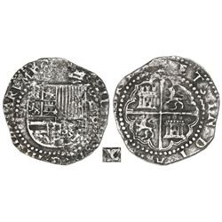 Lima, Peru, cob 4 reales, Philip II, assayer X to right of shield, very rare.