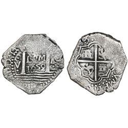 "Lima, Peru, cob 4 reales, 1659V, ""Star of Lima"" type (Series II), very rare."