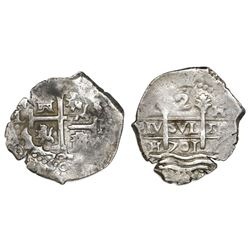 Lima, Peru, cob 2 reales, 1701H, posthumous Charles II.