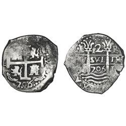Lima, Peru, cob 2 reales, 1706R.