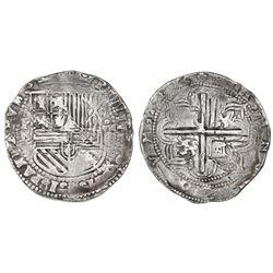"""Potosi, Bolivia, cob 8 reales, Philip II, assayer L (1st period, """"Lima style""""), rare."""