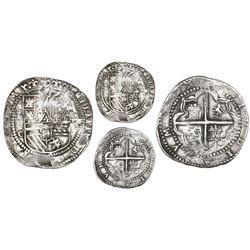 Potosi, Bolivia, cob 8 reales, Philip II, assayer C-under-erasure, very rare.