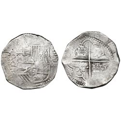 Potosi, Bolivia, cob 8 reales, Philip III, assayer Q/R, very rare.