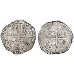 Potosi, Bolivia, cob 8 reales, Philip III, assayer T (ca. 1620), quadrants of cross transposed.